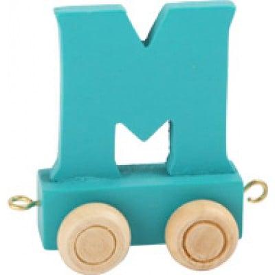 dark green train letter M