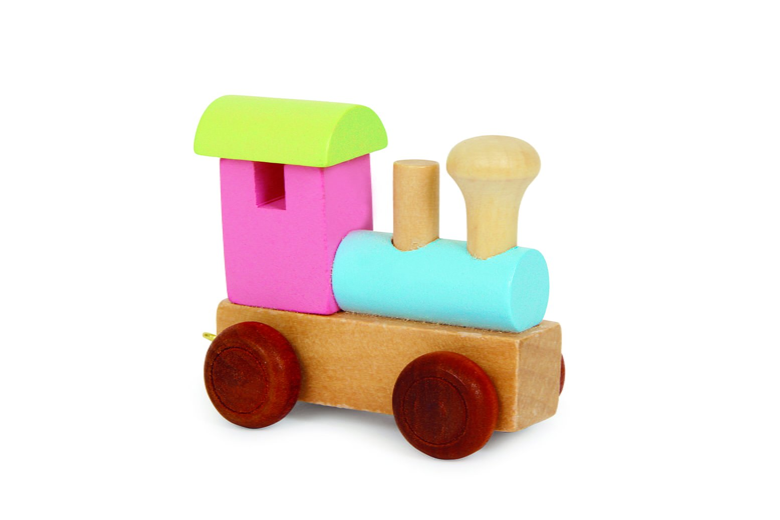 pastel pink and green alphabet train engine