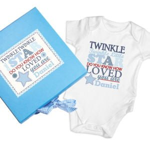 twinkle blue baby vest gift set